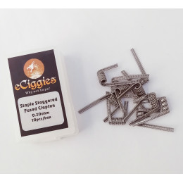 10pcs eCiggies Coils - Staple Staggered Fused Clapton - 0.2ohm